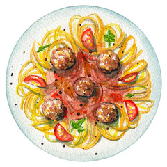 Сarbonara paste on a plate with meatballs, greens, sauce and tomatoes. Picture isolated at white background above view. Watercolor hand painted illustration