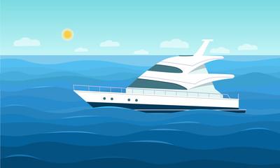 Luxury yacht in the ocean. Vector flat style illustration