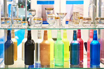 Colored bottles and glassware