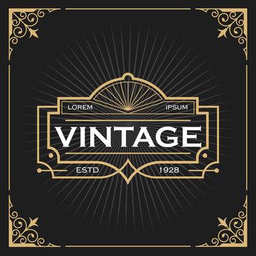Vintage line frame design for labels