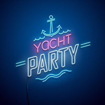Summer yacht party background. Vector neon sign.