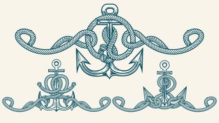 Nautical Retro Anchor Emblem set