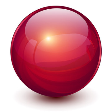 Red sphere, 3D vector ball.