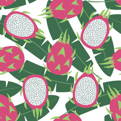 sweet whole dragon fruit and cut dragon fruit tropical exotic fruit pink with seeds pitaya on green leaves of banana palm tree background seamless pattern vector