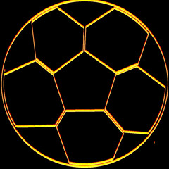 Outline image of a soccer ball  in fire colors