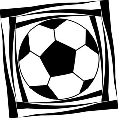 Dynamic image of a soccer ball  in black and white colors
