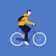 The guy is riding a bicycle. Rest and vacation. Healthy lifestyle. Vector flat illustration