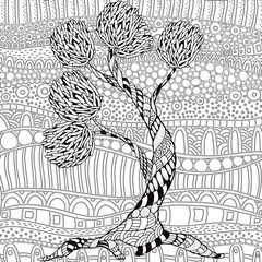 Artistic Tree With Floral Ornaments Pattern For Coloring Book Hand Drawn Ethnic