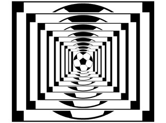 A tunnel with the optical illusion of a soccer ball moving to infinity
