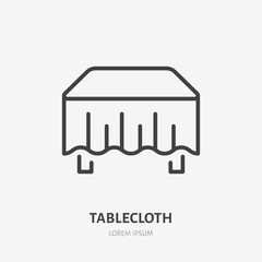 Tablecloth flat line icon. Dining room sign, illustration of table with cloth. Thin linear logo for interior store.