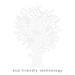 Vector illustration of futuristic tree, new technology. Green thinking technology innovations idea.