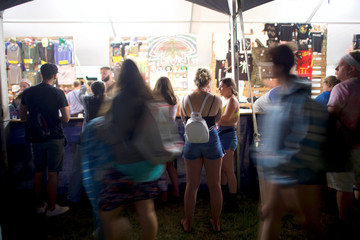 Merchandise is displayed for sale on the second day of the Firefly Music Festival in Dover, Delaware
