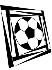 Dynamic pattern of a soccer ball in a black and white colors