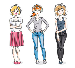 Attractive young women posing in stylish casual clothes. Vector diversity people illustrations set. Fashion and lifestyle theme cartoons.