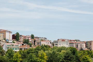 Beautiful views of residential buildings in the European part of Istanbul in Turkey