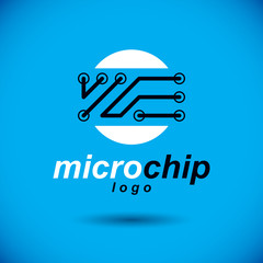 Technology communication cybernetic element. Vector abstract circuit board. Electronic microprocessor logo.