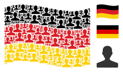 Waving Germany state flag. Vector customer icons are placed into conceptual German flag illustration. Patriotic illustration composed of flat customer pictograms.