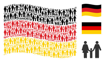 Waving Germany flag. Vector family child elements are united into mosaic German flag abstraction. Patriotic concept combined of flat family child elements.
