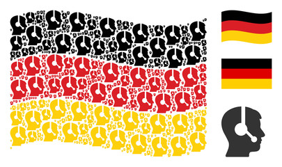 Waving German official flag. Vector operator items are organized into mosaic German flag composition. Patriotic concept combined of flat operator design elements.
