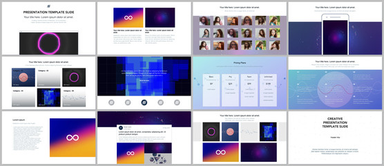 Minimal presentations, portfolio templates with abstract colorful infographics, minimalistic design futuristic vector backgrounds. Presentation slides for flyer, leaflet, brochure, cover, report.