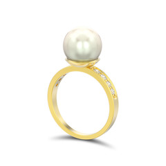 3D illustration isolated gold diamond engagement wedding ring with pearl with shadow on