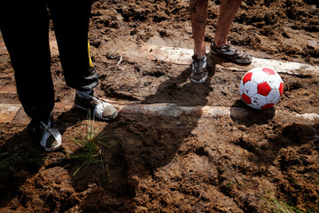 Soccer enthusiasts compete in the Swamp Football Cup of Russia in Leningrad Region
