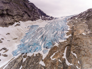 Aerial view of Fabergstolsbreen glacier in Nigardsvatnet Jostedalsbreen national park in Norway in a sunny day