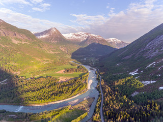Aerial view of valley in Jostedalsbreen national park in Norway in a sunny day