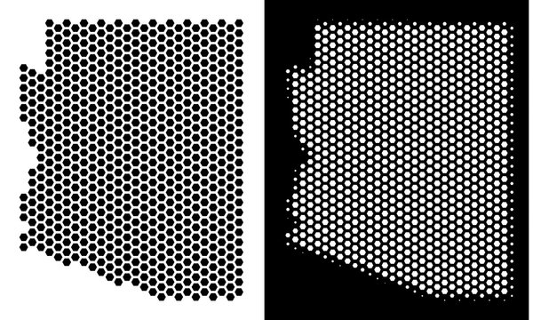 Hex-Tile Arizona State map. Vector geographic plan in black and white versions. Abstract Arizona State map mosaic is composed from honeycomb dots.
