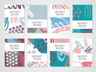 Abstract colorful backgrounds set. Hand drawn templates for card, flyer and invitation design. Vector illustration.
