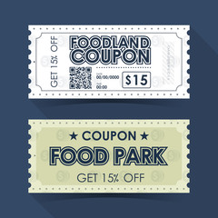 Coupon Ticket Card. Retro Vintage Template Design. Vector illustration