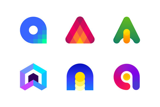 Modern logo template or icon of abstract letter A for blockchain technology in accounting and financial services