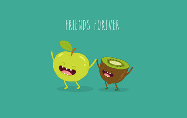 This is vector illustration. Funny an apple and the kiwi are friends forever. You can use for cards, fridge magnets, stickers, posters.