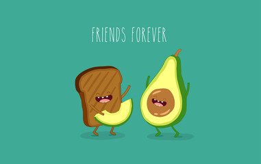 This is black toast with avocado. You can use for cards, fridge magnets, stickers, posters.