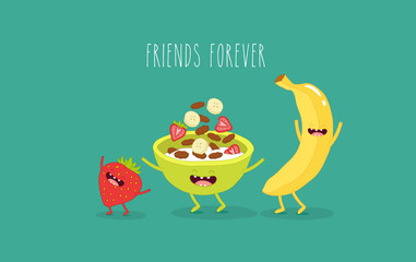 This is funny cornflakes bowl with banana and strawberry. Vector illustrations. You can use for cards, fridge magnets, stickers, posters.