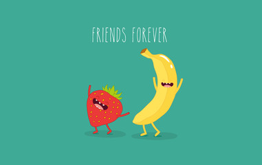 This is funny strawberry with banana. Comic character. Use for card, poster, banner, web design and print on t-shirt. Easy to edit. Vector illustration.