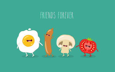 Funny breakfast. Comic characters. Vector illustrations.