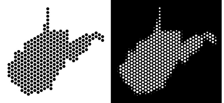 Hex Tile West Virginia State map. Vector territory plan in black and white variants. Abstract West Virginia State map composition is combined of hexagon dots.