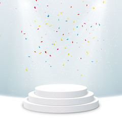 Illuminated podium background. Pedestal stage for presentation or show with confetti. Vector light scene design
