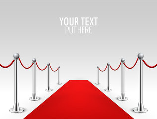 Red carpet event silver barriers background realistic vector illustration. Red carpet luxury entrance celebrity event presentation