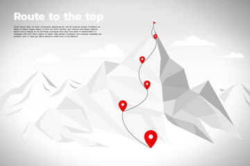Route to the top of mountain: Concept of Goal, Mission, Vision, Career path, Polygon dot connect line style Wall mural