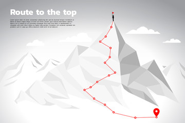 Route to the top of mountain: Concept of Goal, Mission, Vision, Career path, Polygon dot connect line style
