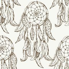 Dreamcatcher sketch seamless pattern . Hand drawn vector illustration.