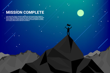 PriSilhouette of a business man on top of mountain: concept of success in career and missionnt