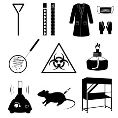 Microbiology laboratory icons set isolated on white background. Black and white illustration. Silhouettes of biological equipment and test analysis.