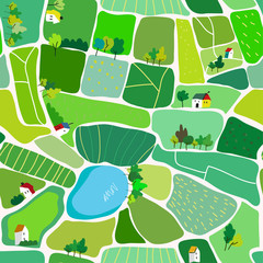 Photo sur Plexiglas Vert chaux Landscape seamless pattern for the countryside, with houses and roads, top view. Vector graphic illustration
