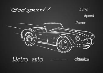 Sketch car .Retro car .Chalk car racing car