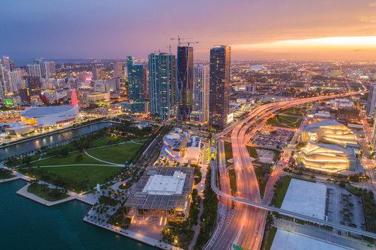 Sunset Miami stock image