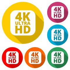 Ultra HD 4K icon, color icon with long shadow