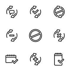 Set of black icons isolated on white background, on theme Check mark, line style